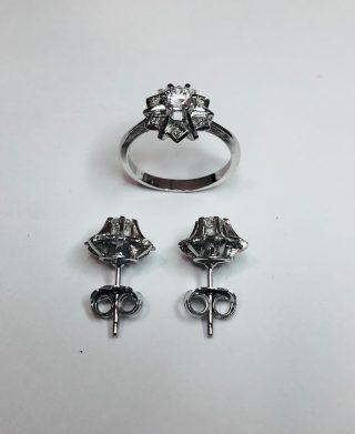 juego de anillo y pendientes de plata